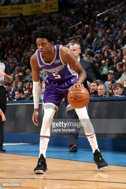 De'Aaron Fox of the Sacramento Kings handles the ball against the Oklahoma City Thunder on January 15 2018 at Chesapeake Energy Arena in Oklahoma...