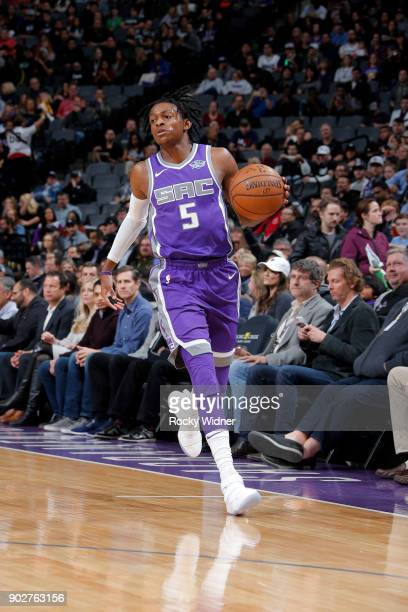 De'Aaron Fox of the Sacramento Kings handles the ball against the San Antonio Spurs on January 8 2018 at Golden 1 Center in Sacramento California...