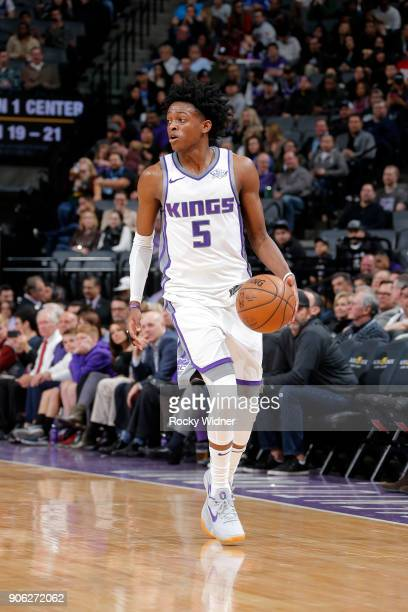 De'Aaron Fox of the Sacramento Kings handles the ball against the Utah Jazz on January 17 2018 at Golden 1 Center in Sacramento California NOTE TO...