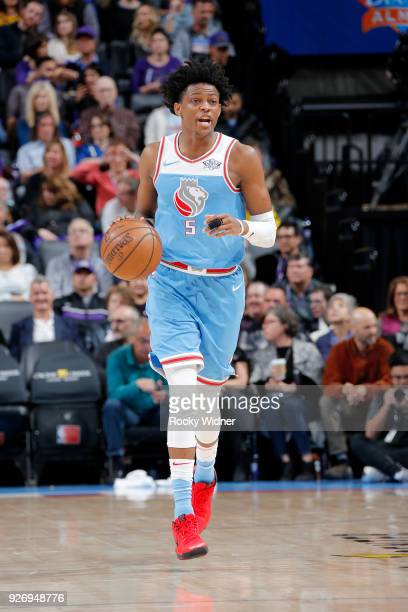 De'Aaron Fox of the Sacramento Kings handles the ball against the Utah Jazz on March 3 2018 at Golden 1 Center in Sacramento California NOTE TO USER...