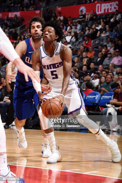 De'Aaron Fox of the Sacramento Kings handles the ball during the game against the LA Clippers on January 13 2018 at STAPLES Center in Los Angeles...