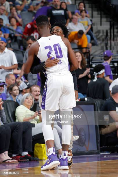 De'Aaron Fox of the Sacramento Kings hugs Harry Giles of the Sacramento Kings during the game against the Miami Heat during the 2018 Summer League at...