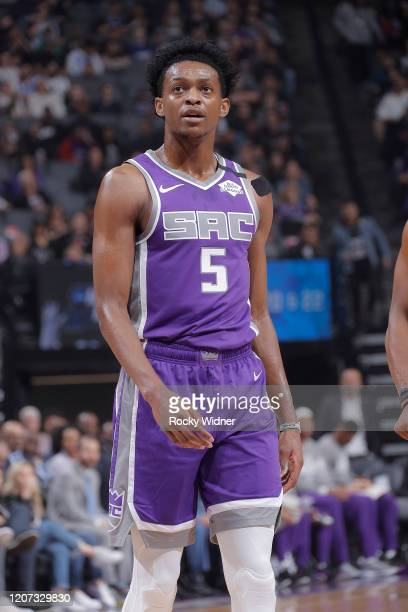 De'Aaron Fox of the Sacramento Kings looks on during the game against the Toronto Raptors on March 8 2020 at Golden 1 Center in Sacramento California...