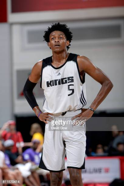 De'Aaron Fox of the Sacramento Kings looks on during the game against the Memphis Grizzlies during the 2017 Las Vegas Summer League on July 9 2017 at...