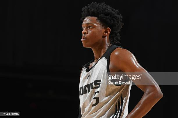 De'Aaron Fox of the Sacramento Kings looks on during the game against the Los Angeles Lakers on July 10 2017 at the Thomas Mack Center in Las Vegas...