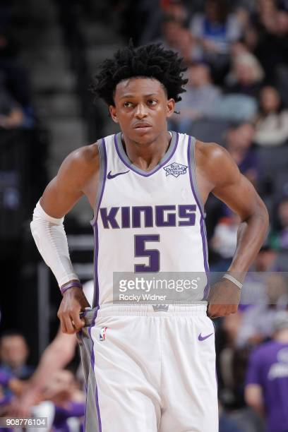 De'Aaron Fox of the Sacramento Kings looks on during the game against the Utah Jazz on January 17 2018 at Golden 1 Center in Sacramento California...