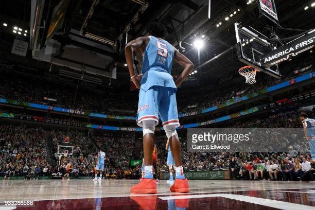 De'Aaron Fox of the Sacramento Kings looks on during the game against the Utah Jazz on March 17 2018 at vivintSmartHome Arena in Salt Lake City Utah...