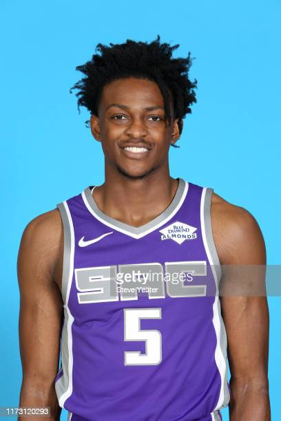 De'Aaron Fox of the Sacramento Kings poses for a head shot during media day on September 27, 2019 at the Golden 1 Center & Practice Facility in...