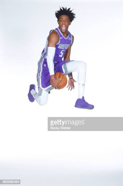 De'Aaron Fox of the Sacramento Kings poses for a photo on media day September 25 2017 at the Golden 1 Center in Sacramento California NOTE TO USER...