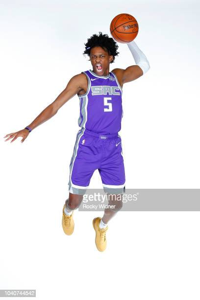 De'Aaron Fox of the Sacramento Kings poses for a portrait at media day on September 24 2018 at the Golden 1 Center in Sacramento California NOTE TO...