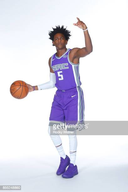 De'Aaron Fox of the Sacramento Kings poses for a portrait during Media Day on September 25 2017 at the Golden 1 Center in Sacramento California NOTE...
