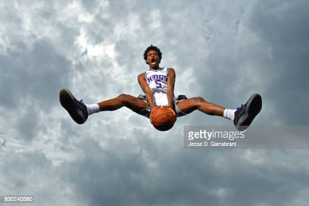 DeAaron Fox of the Sacramento Kings poses for a portrait during the 2017 NBA rookie photo shoot on August 11 2017 at the Madison Square Garden...