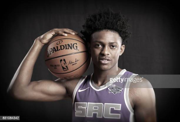 De'Aaron Fox of the Sacramento Kings poses for a portrait during the 2017 NBA Rookie Photo Shoot at MSG Training Center on August 11 2017 in...