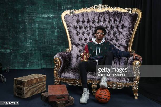 De'Aaron Fox of the Sacramento Kings poses for portraits during the NBAE Circuit as part of 2019 NBA AllStar Weekend on February 14 2019 at the...