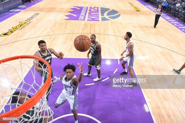 De'Aaron Fox of the Sacramento Kings puts up a shot against the Milwaukee Bucks on November 28 2017 at Golden 1 Center in Sacramento California NOTE...