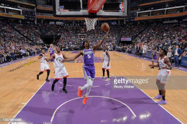 De'Aaron Fox of the Sacramento Kings puts up a shot against the Toronto Raptors on March 8 2020 at Golden 1 Center in Sacramento California NOTE TO...