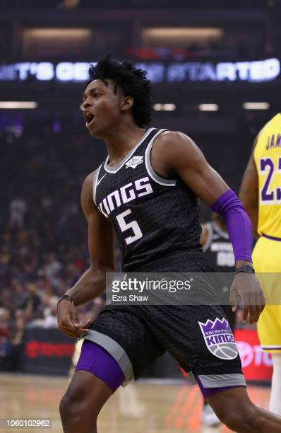 De'Aaron Fox of the Sacramento Kings reacts after making a basket against the Los Angeles Lakers at Golden 1 Center on November 10 2018 in Sacramento...