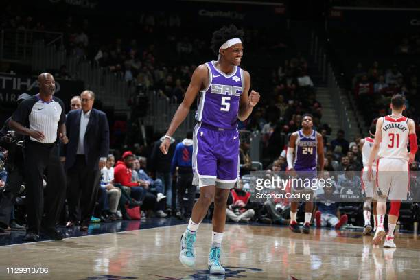 De'Aaron Fox of the Sacramento Kings reacts during a game against the Washington Wizards on March 11 2019 at Capital One Arena in Washington DC NOTE...