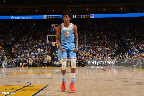 De'Aaron Fox of the Sacramento Kings reacts during the game against the Golden State Warriors on March 16 2018 at ORACLE Arena in Oakland California...