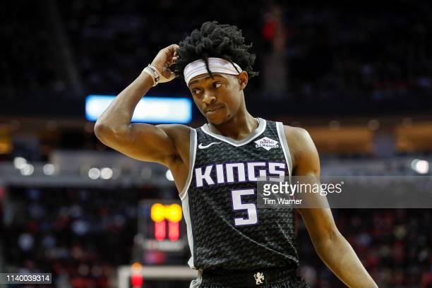 De'Aaron Fox of the Sacramento Kings reacts in the first half against the Houston Rockets at Toyota Center on March 30, 2019 in Houston, Texas. NOTE...