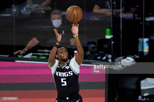 De'Aaron Fox of the Sacramento Kings shoots a basket against the New Orleans Pelicans during the second half of an NBA basketball game at HP Field...
