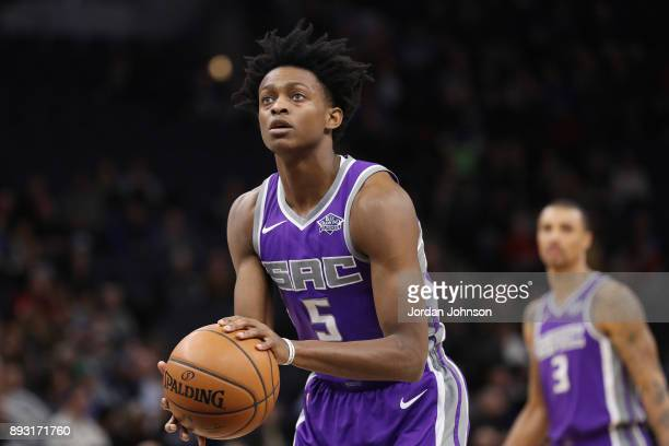 De'Aaron Fox of the Sacramento Kings shoots a free throw against the Minnesota Timberwolves on December 14 2017 at Target Center in Minneapolis...