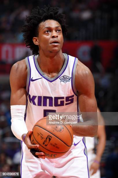 De'Aaron Fox of the Sacramento Kings shoots a free throw during the game against the LA Clippers on January 13 2018 at STAPLES Center in Los Angeles...