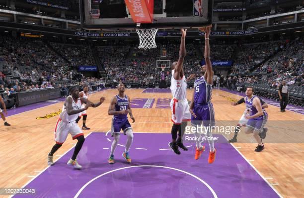 De'Aaron Fox of the Sacramento Kings shoots a layup against the Toronto Raptors on March 8 2020 at Golden 1 Center in Sacramento California NOTE TO...