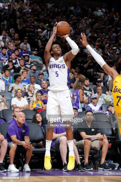 De'Aaron Fox of the Sacramento Kings shoots the ball against the Los Angeles Lakers during the 2018 Summer League at the Golden 1 Center on July 2...