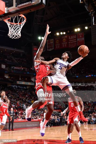 De'Aaron Fox of the Sacramento Kings shoots the ball against the Houston Rockets on November 17 2018 at Toyota Center in Houston Texas NOTE TO USER...