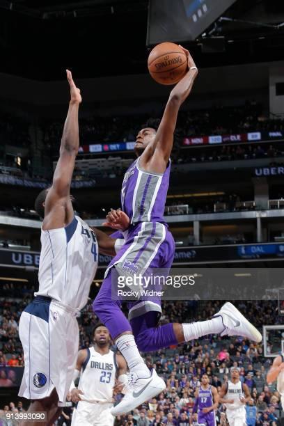 De'Aaron Fox of the Sacramento Kings shoots the ball against the Dallas Mavericks on February 3 2018 at Golden 1 Center in Sacramento California NOTE...