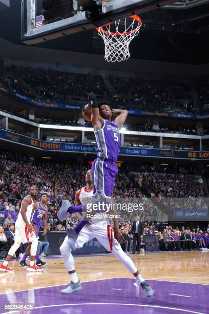 De'Aaron Fox of the Sacramento Kings shoots the ball against the Houston Rockets during the game on October 18 2017 at Golden 1 Center in Sacramento...