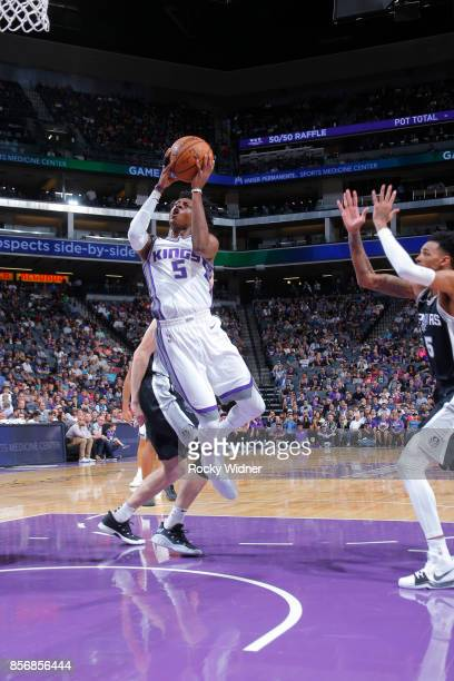 De'Aaron Fox of the Sacramento Kings shoots the ball against the San Antonio Spurs during the preseason game on October 2 2017 at Golden 1 Center in...