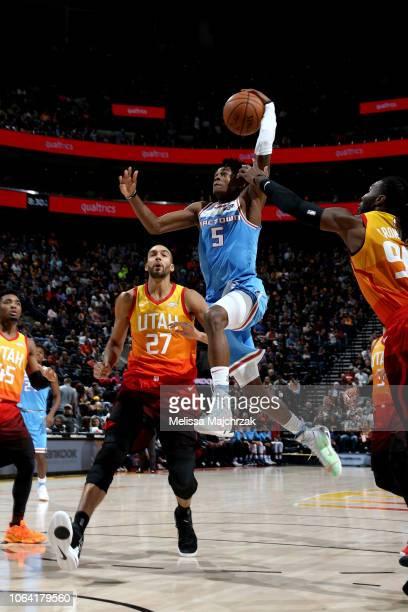De'Aaron Fox of the Sacramento Kings shoots the ball against the Utah Jazz on November 21 2018 at Vivint Smart Home Arena in Salt Lake City Utah NOTE...