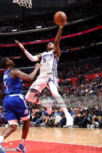 De'Aaron Fox of the Sacramento Kings shoots the ball during the game against the LA Clippers on January 13 2018 at STAPLES Center in Los Angeles...