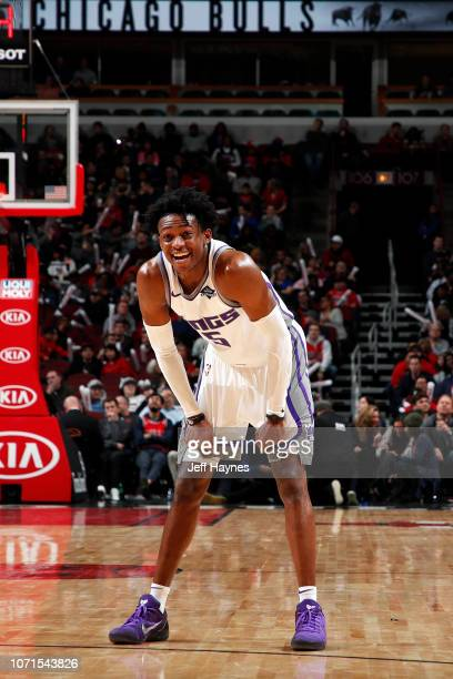 De'Aaron Fox of the Sacramento Kings smiles during the game against the Chicago Bulls on December 10 2018 at United Center in Chicago Illinois NOTE...