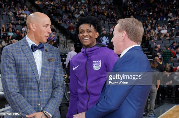 De'Aaron Fox of the Sacramento Kings talks to Announcer Doug Christie and Grant Napear prior to the game against the Los Angeles Lakers on December...