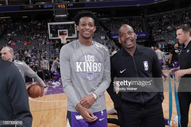 De'Aaron Fox of the Sacramento Kings talks to referee Derek Richardson on March 8 2020 at Golden 1 Center in Sacramento California NOTE TO USER User...