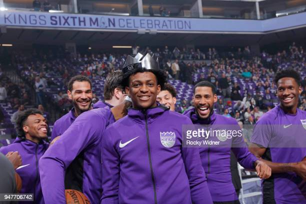 De'Aaron Fox of the Sacramento Kings wears the Oscar Robertson Triple Double Award belonging to Garrett Temple prior to the game against the Houston...