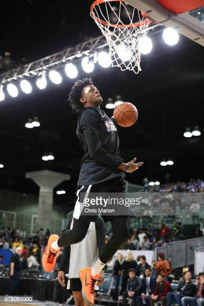 De'Aaron Fox of the US Team dunks during the 2018 Mnt Dew Kickstart Rising Stars Challenge Practice as part of 2018 AllStar Weekend at the Verizon Up...