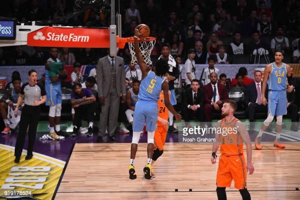 De'Aaron Fox of the US Team dunks during the Mtn Dew Kickstart Rising Stars Game during AllStar Friday Night as part of 2018 NBA AllStar Weekend at...
