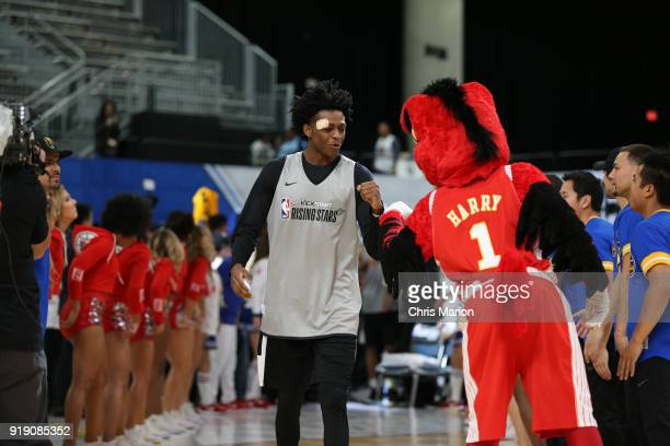 De'Aaron Fox of the US Team participates during the 2018 Mnt Dew Kickstart Rising Stars Challenge Practice as part of 2018 AllStar Weekend at the...