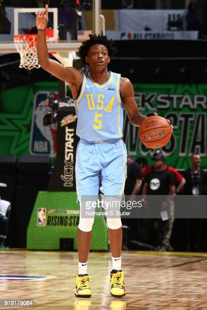 De'Aaron Fox of the USA Team handles the ball against the World Team during the Mountain Dew Kickstart Rising Stars Game during AllStar Friday Night...