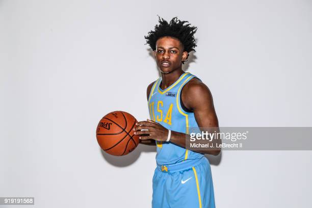 De'Aaron Fox of the USA team poses for a portrait prior to the Mountain Dew Kickstart Rising Stars Game during AllStar Friday Night as part of 2018...
