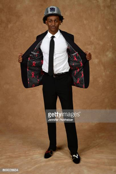 De'Aaron Fox poses for a portrait after being drafted number five overall to the Sacramento Kings during the 2017 NBA Draft on June 22 2017 at...