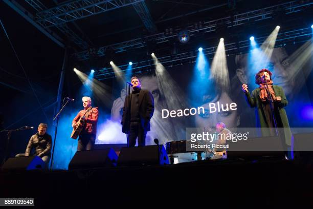 Deacon Blue perform on stage during Sleep In The Park a Mass Sleepout organised by Scottish social enterprise Social Bite to end homelessness in...
