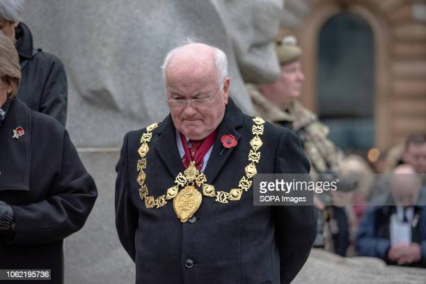 Deacon Convenor of the Trades House of Glasgow Tom McInally is seen paying his respects during a remembrance day event in George Square Glasgow...
