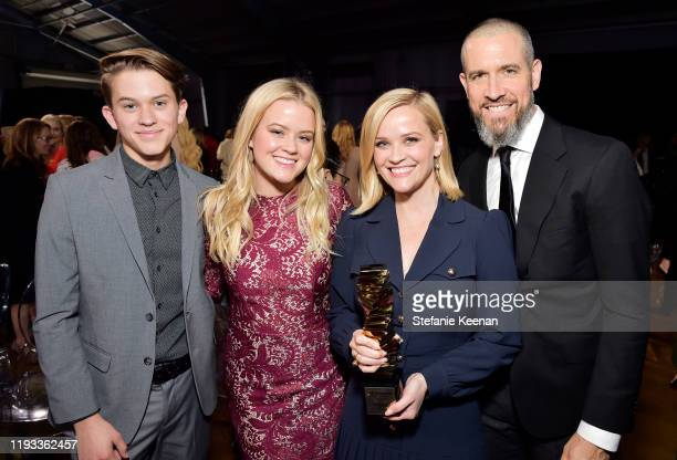 Deacon Reese Phillippe, Ava Elizabeth Phillippe, Sherry Lansing Leadership Award honoree Reese Witherspoon, and Jim Toth attend The Hollywood...