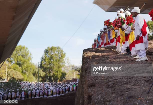 Deacons and Priest perform the Beza Kulu ceremony around Bete Mariam during Orthodox Christmas/Gena celebrations on January 07 2019 in Lalibela...