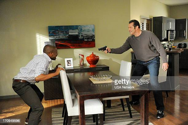 PSYCH Dead Air Episode 7012 Pictured Dule Hill as Burton 'Gus' Guster Ken Kirzinger as Bob